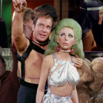 Collage of photos of Captain Kirk with women from various episodes