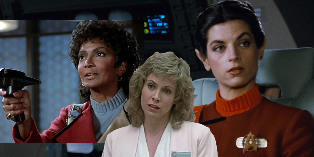 Uhura, Gillian Taylor and Kirstie Alley as Saavik