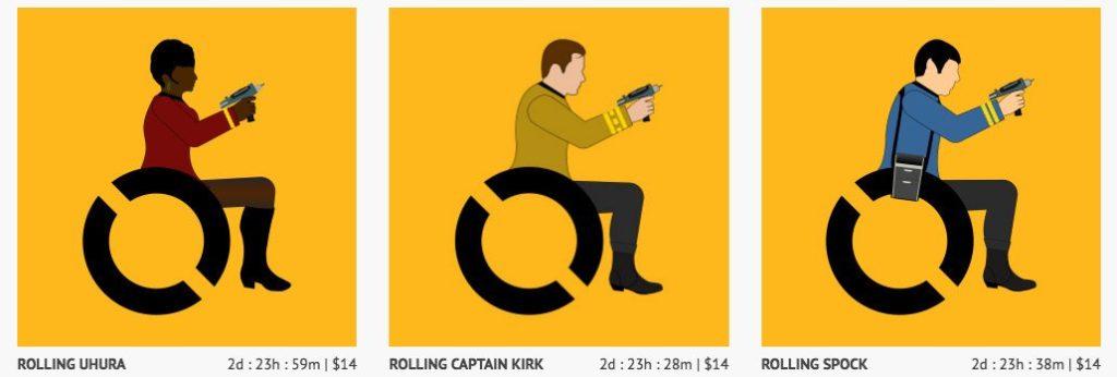 Uhura, Kirk and Spock on wheelchairs - fan art