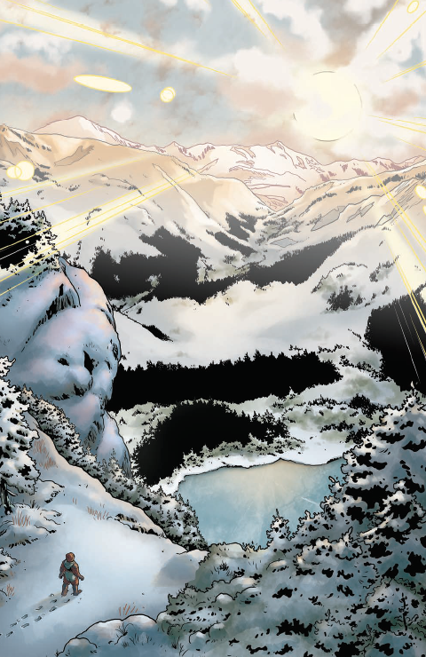 Page of art from Waypoint 4, showing a young Jonathan Archer walking in the  mountains