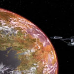 the Enterprise orbiting a planet